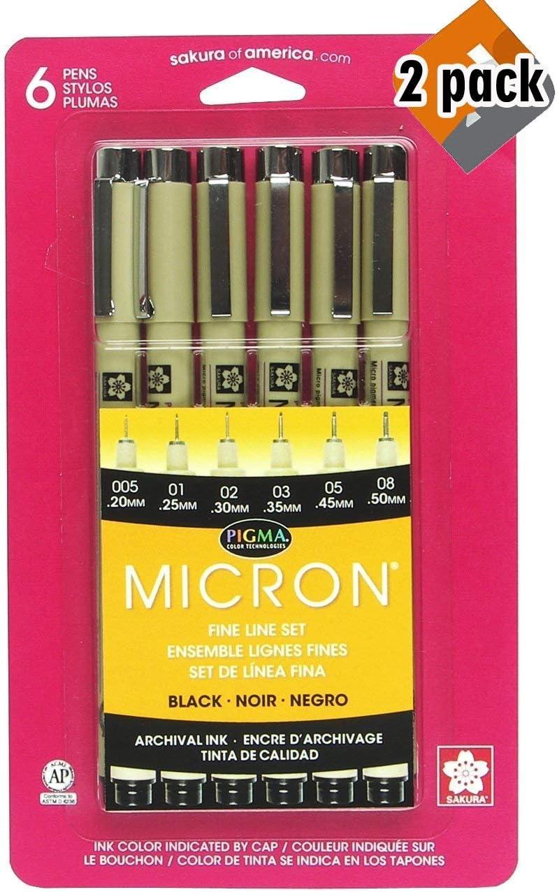 Sakura Pigma Micron Pen Set Black Size 005 01 02 03 05 and 08 30062