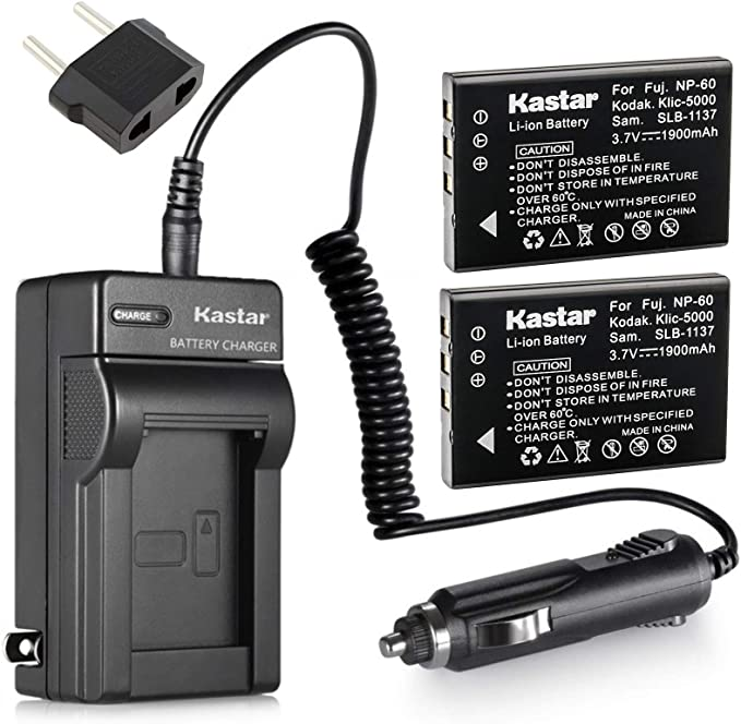 Replacement for Kodak EasyShare LS743 Battery and Charger with Car Plug and EU Adapter 1200mAh 3.7V Lithium-Ion Compatible with Kodak KLIC-5000 Digital Camera Batteries and Chargers