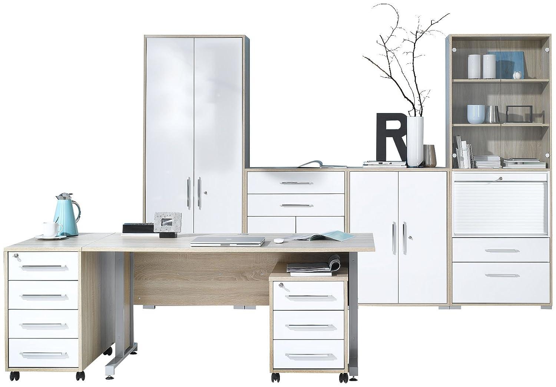 Büromöbel weiss hochglanz  MAJA-Möbel 1202 2556 Büroprogramm SYSTEM, Sonoma-Eiche-Nachbildung ...