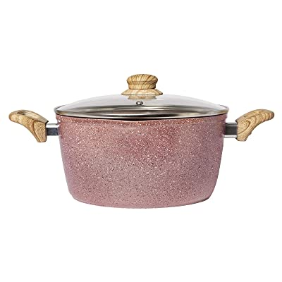 Buy Country Kitchen Cookware Forged Aluminum Dutch Oven 5 Quart Speckled Pot With Handles And Glass Lid Rose Gold Online In Greece B08tx7vlpf