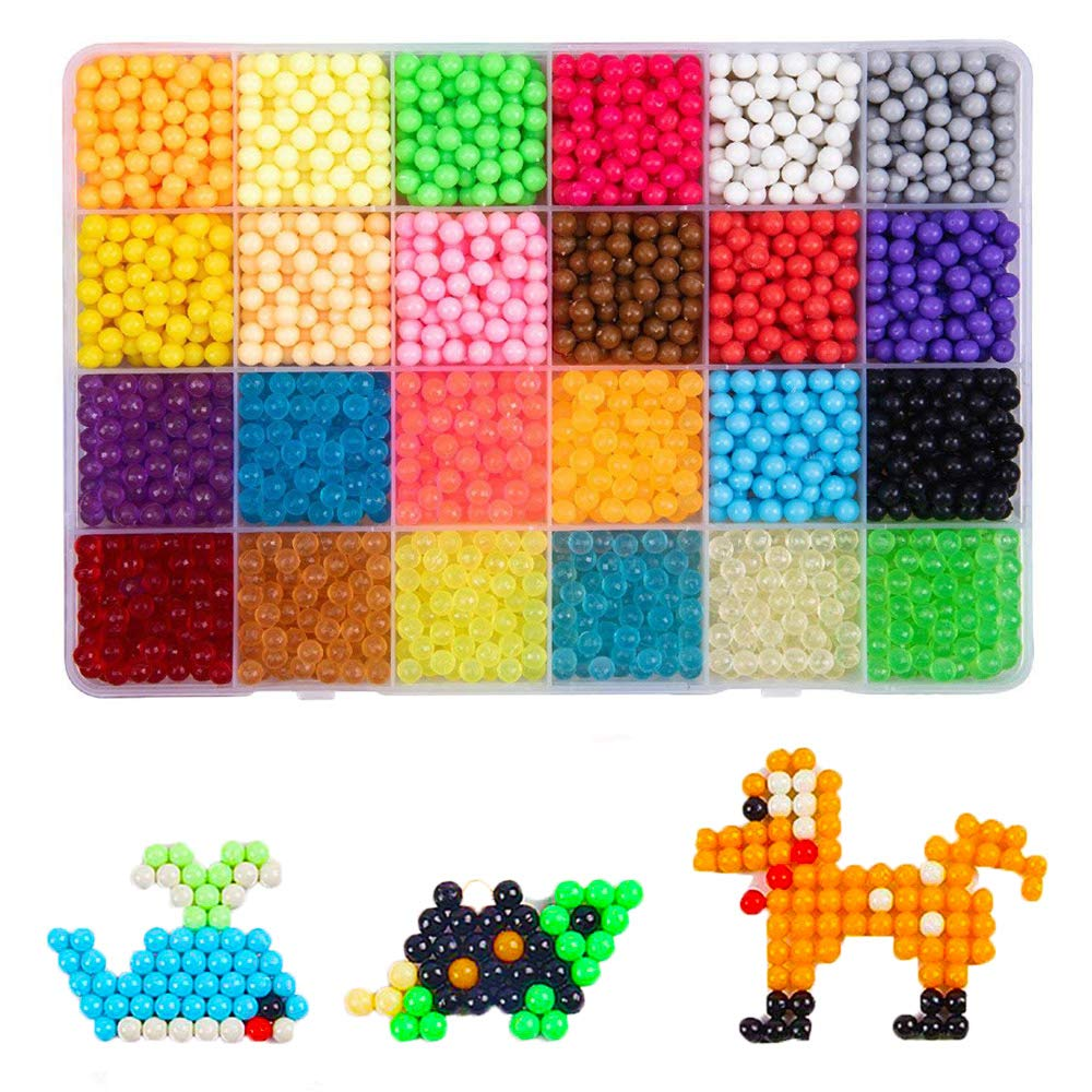 Aqua Fuse Beads Refill Set Water Beads Non-Toxic Safe Art Crafts Toys for Kids Handmake STEM Educational kit-2400 Beads in 24 Different Colors