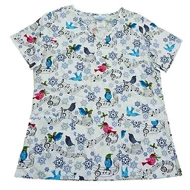 d8a9c70cac4 Simply Basic Womens White Songbird Medical Smock Nurse Scrubs Shirt Top  X-Small