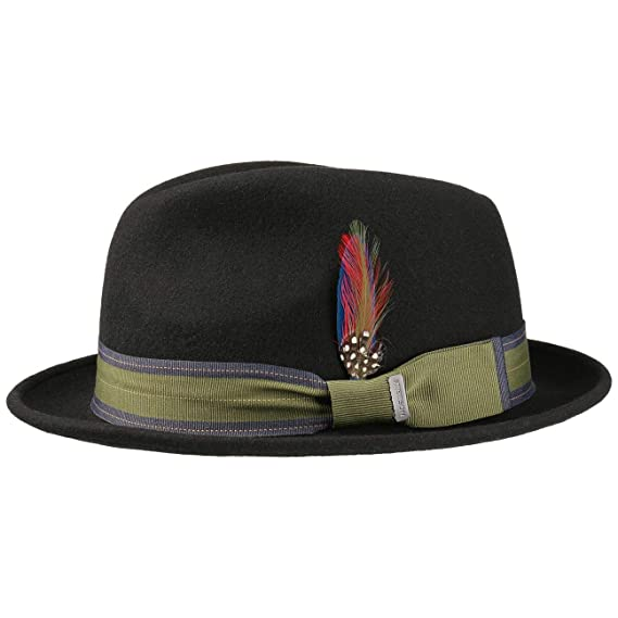 38a07435 Stetson Manhat Wool Felt Fedora Hat Men | Player with Grosgrain Band  Summer-Winter: Amazon.co.uk: Clothing