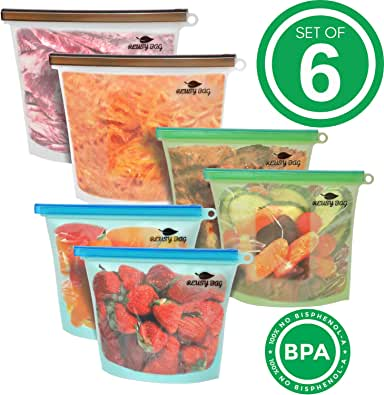 6 Pack Reusable Storage Bags (2 Large 50oz + 4 Medium 30oz) - Airtight Seal Food Storage Bags for Sandwich, Fruit, Veggies, Soup - Eco-Friendly Reusable Food Bags BPA-Free Material - Lead Free
