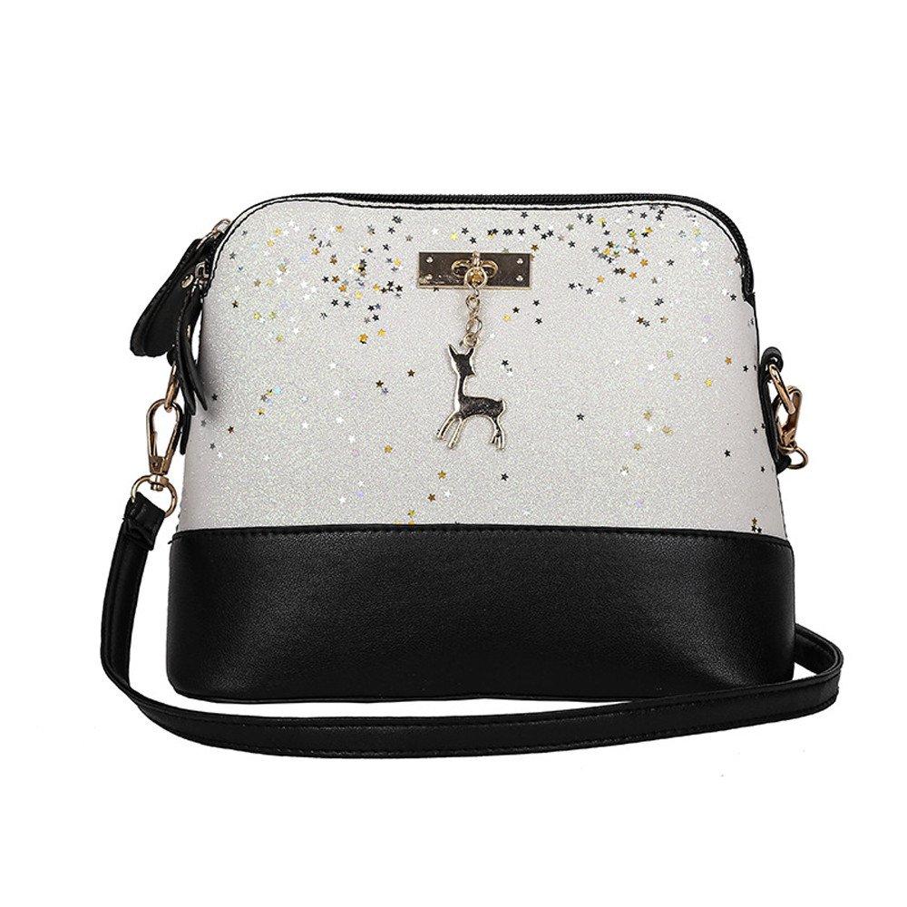 Adagod Womens Leather Crossbody Bag Sequins Small Deer Shoulder Bags Messenger Bag