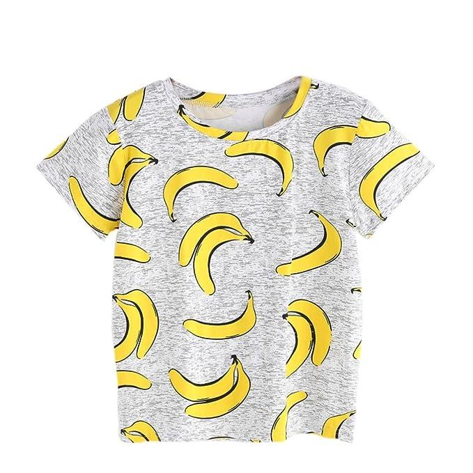 LHWY Camisetas Mujer Manga Corta de Plátano Estampado 0bbdd97ecfbd0