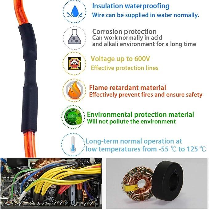 12 Metres of 3.2mm Wire Waterproofing Heat Shrink Tubing Red 2:1 Length