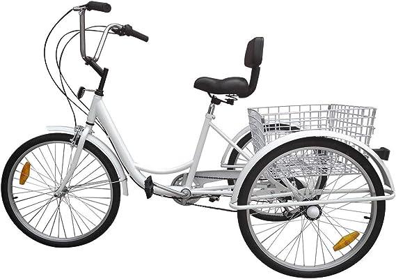 Multiple Colors Adjustable Seat and Handlebar 7 Speed Three Wheel Cruiser Bike 24 26 inch Wheels 3 Wheel Bike Adult Ey Adult Tricycle