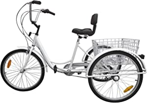 """Artudatech 7-Speed 24"""" Adult 3-Wheel Tricycle Cruise Bike Bicycle with Basket Yellow"""