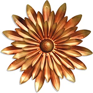 GIFTME 5 Metal Daisy Floral Wall Decor Gold Christmas Ornament,14 Inch