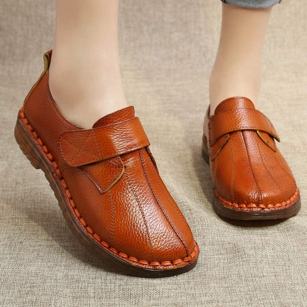 Scarpe da Donna in Pelle Mocassini Scarpe Mocassini Scarpe Casual Casual Slip On Walking Work Office Comfort Shoes Misura Marrone