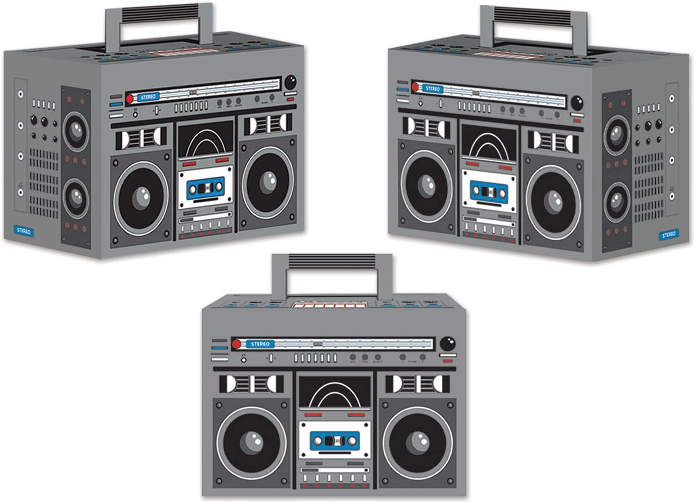 "Beistle Novelty Boom Favor Boxes 3 Piece – 80's Theme Retro Decorations – 1980's Hip Hop Party Supplies Table Centerpieces, 4"" x 5.75"", Gray/Black/Red/Blue/White"