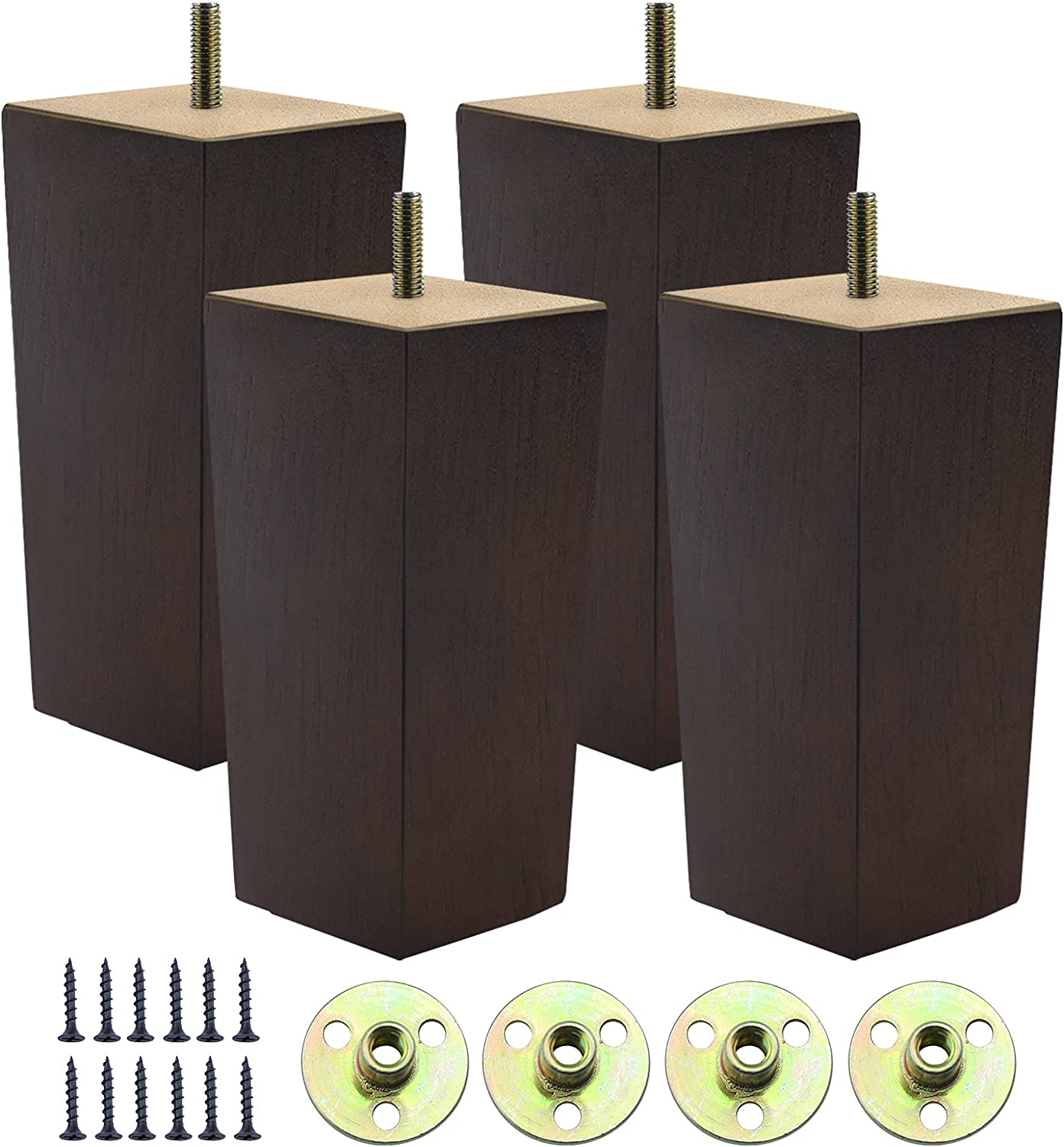 Couch Legs for Furniture Set of 4, Pyramid Square Wooden Furniture Legs 6 Inch, Mid Century Modern Brown Color Sofa Legs Replacement for Ottoman, Chair, Dresser, Coffee Table, Armchair, Settee