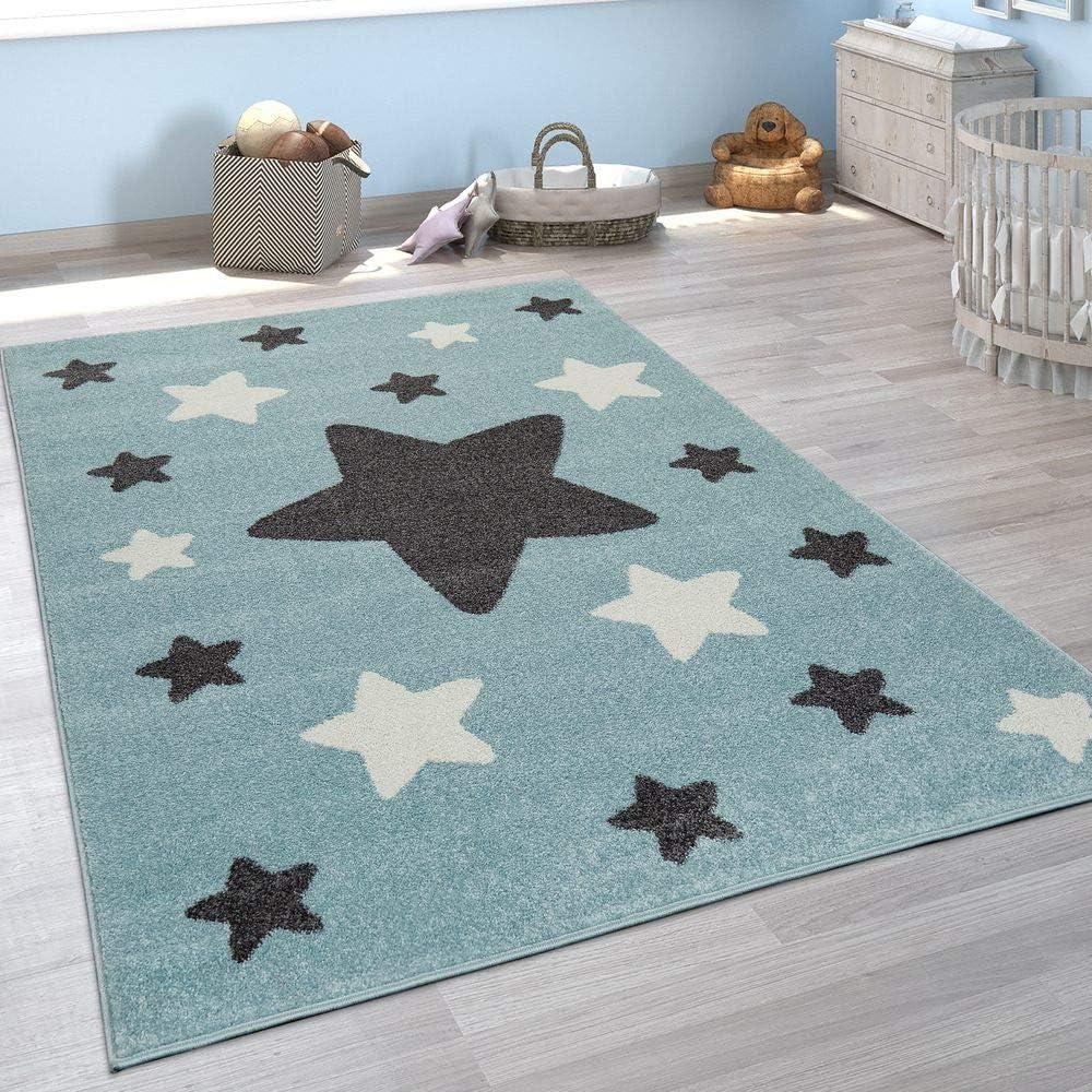 tama/ño:80x150 cm Paco Home Alfombra Habitaci/ón Infantil Estrellas Grandes Y Peque/ñas En Azul Y Gris