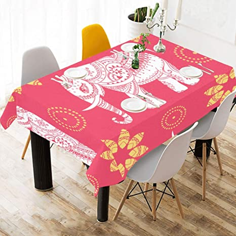 Amazon Com Junjieshop Table Cover For Party Cute Greeting Beautiful Elephant Cotton Print Table Linens Cloth Cover Tablecloth For Kitchen Dining Room Decor 60x84 Inch Office Table Cover Home Kitchen