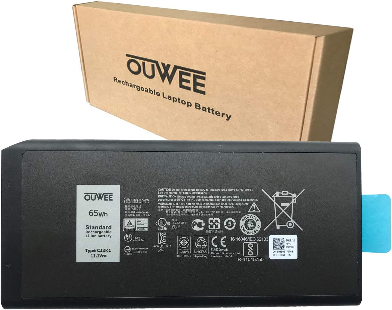 OUWEE CJ2K1 Laptop Battery Compatible with Dell Latitude 5404 7404 5414 7414 Rugged Extreme Series DKNKD X8VWF 4XKN5 05XT3V 0VCHGN 09FN4 XN4KN XRJDF YGV51 453-BBBE 0W11Y7 0909H5 11.1V 65Wh 5700mAh