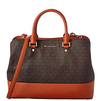 78ef651f5836 Amazon.com: Michael Kors Savannah Signature Satchel, Brown: Watches