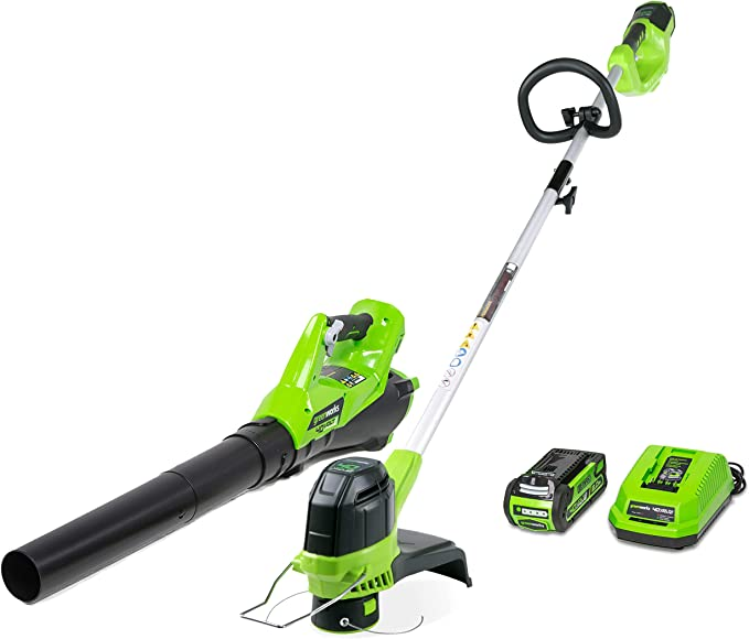 CK40B411 Greenworks 40V 14-inch Mower // Axial Blower //12 String Trimmer Combo Kit 4Ah USB Power Bank Battery and Charger