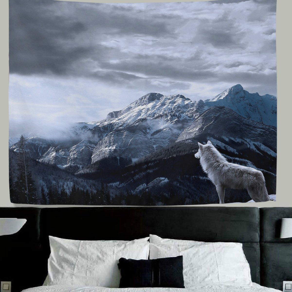 WellLee Wolf wall decor Lone Wolf Fabric Tapestry Throw Dorm bedroom Art Home Decor Tapestry Wall Hanging 90x60 Inch