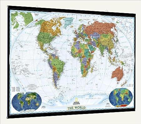 National geographic decorator laminated world wall map with fitted national geographic decorator laminated world wall map with fitted poster hangers 46quot publicscrutiny Images