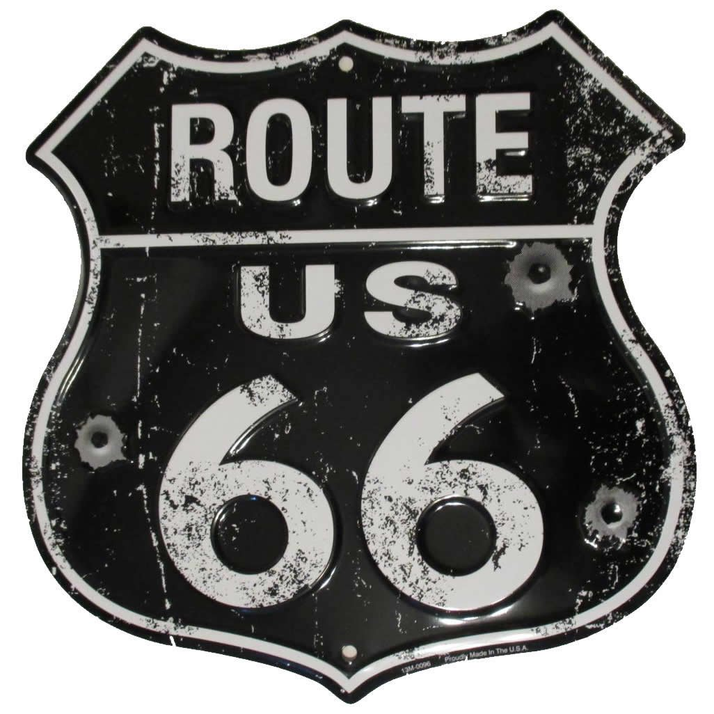 Tags America Black Route 66 Vintage Metal Sign with Bullet Holes – Distressed Reproduction of the Old U.S. Rt. 66 Shield Hang Time 13M-0096