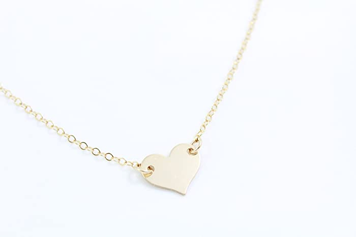 Amazon small heart necklace dainty heart in 14k gold fill small heart necklace dainty heart in 14k gold fill layered gold necklace delicate aloadofball Image collections