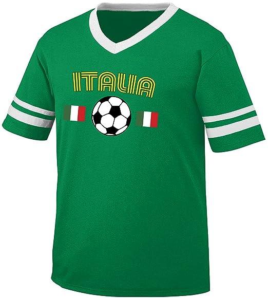 Italy Italia Soccer   Football and Flag Men s Retro Soccer Ringer T-shirt b3305c242