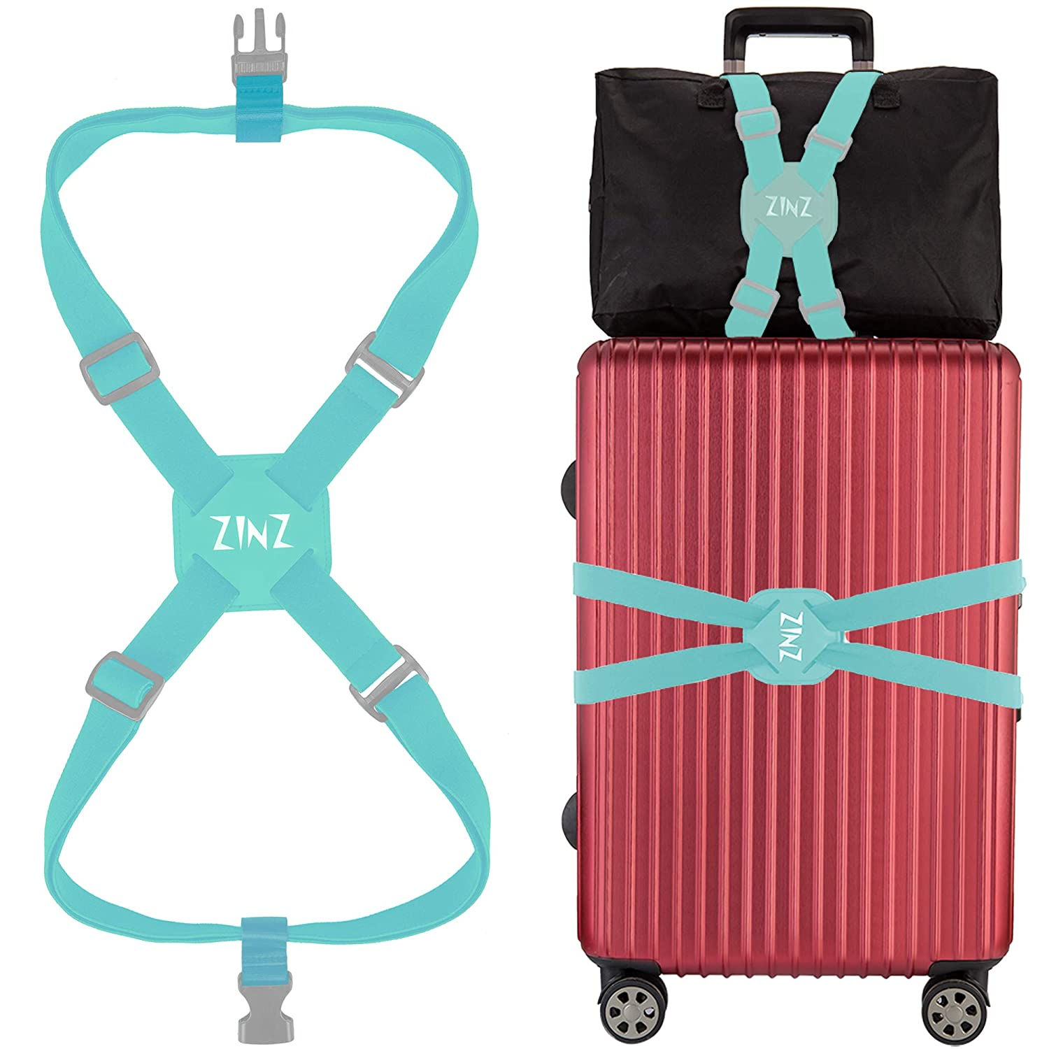 Blue-001 ZINZ High Elastic Suitcase Adjustable Belt Bag Bungees With Buckles And More Applications Luggage Strap