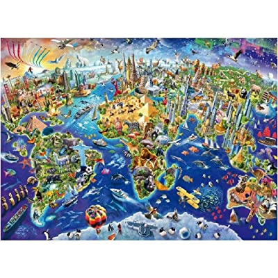 NA Colorful World Map The Wooden Puzzle 1000 Pieces Ersion Jigsaw Puzzle White Card Adult Children's Educational Toys: Toys & Games