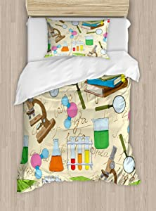 Ambesonne Kids Duvet Cover Set Twin Size, Science Education Lab Sketch Books Equation Loupe Microscope Molecule Flask Print, Decorative 2 Piece Bedding Set with 1 Pillow Sham, Multicolor