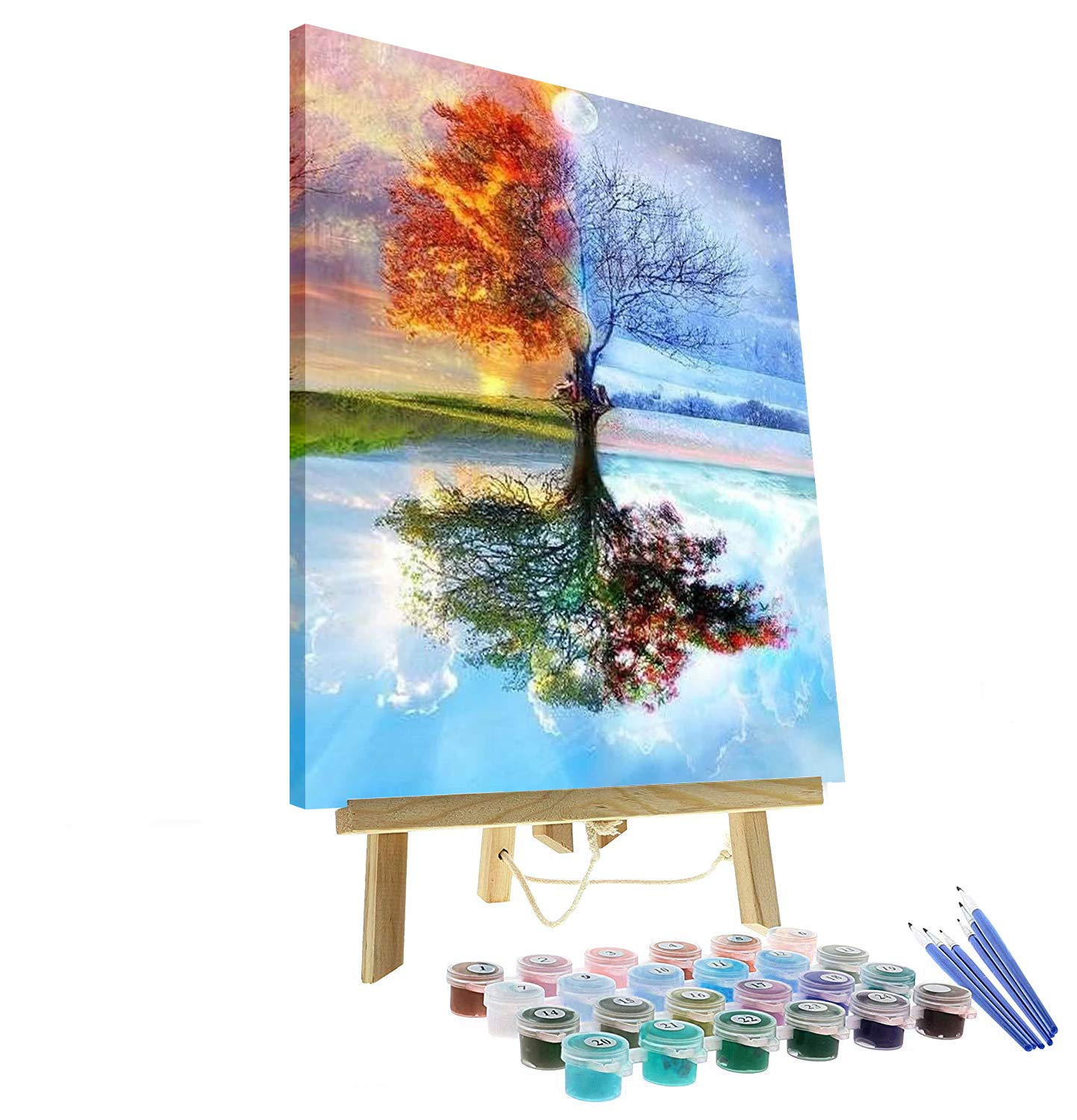 DIY Oil Painting Paint by Number Kit for Adults Kids Beginner - Four Season Tree of Life 16''x20'' with Wooden Frame and Easel