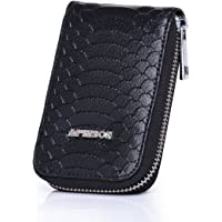 APHISON RFID Blocking Coin Pouch Purse Credit Card Case Holder Wallet with Zipper 010 (Black)