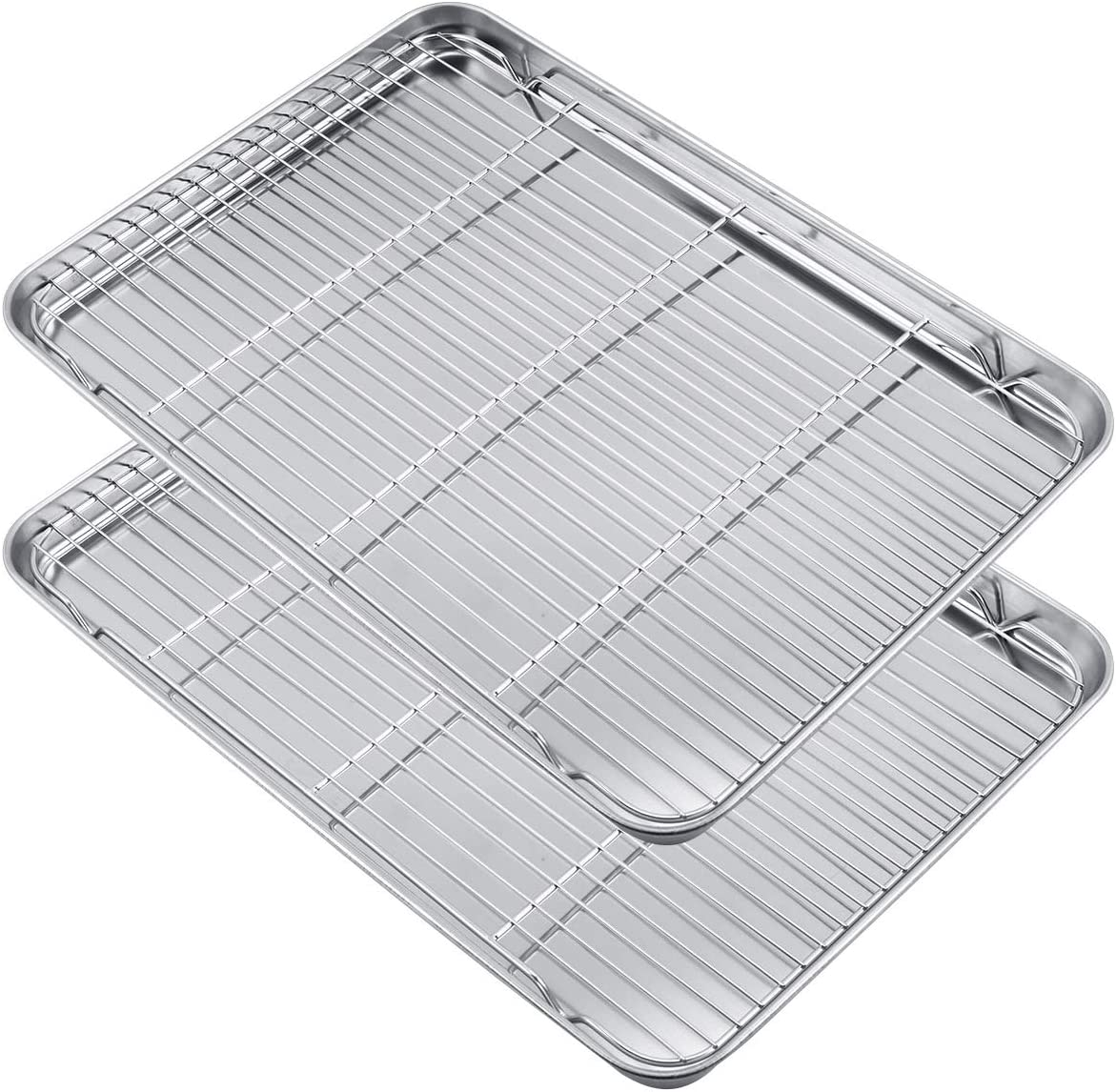 WEZVIX Large Baking Sheet with cooling rack Set of 4, Half Size Stainless Steel Baking Tray Cookie Sheet Oven Tray Pan 19.6 × 13.5 × 1.2 inches, Rust Free & Less Stick, Easy Clean & Dishwasher Safe