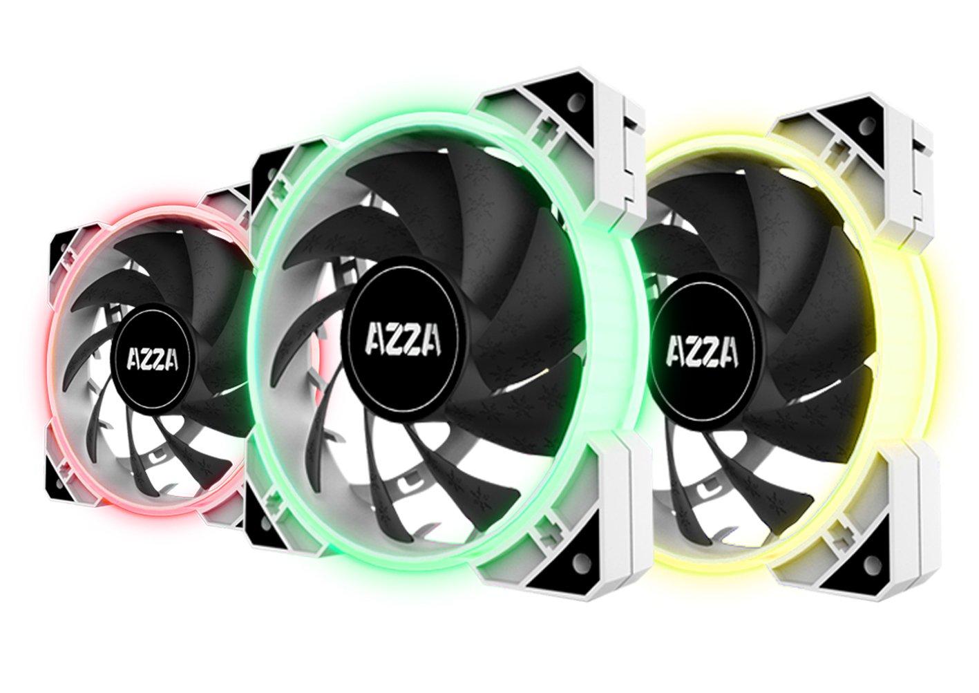 AZZA Hurricane RGB LITE, 3x120mm RGB Fans w/RF Controller - White