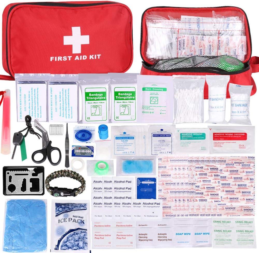 Botiquín de Primeros Auxilios de 200 Piezas,con Hielo, Manta de Emergencia,Máscara de RCP, Survival Tools Kit Bolsa Médica Emergencias para Coche, Casa, Camping, Caza, Viajes, Aire Libre o Deportes