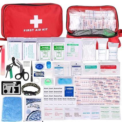 Botiquín de Primeros Auxilios de 200 Piezas,con Hielo, Manta de Emergencia,Máscara de RCP, Survival Tools Kit Bolsa Médica Emergencias para Coche, ...
