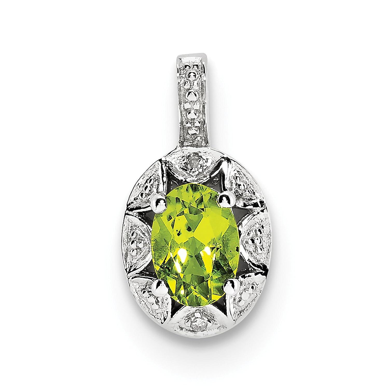 925 Sterling Silver Rhodium-finish Diamond /& Peridot August Stone Pendant