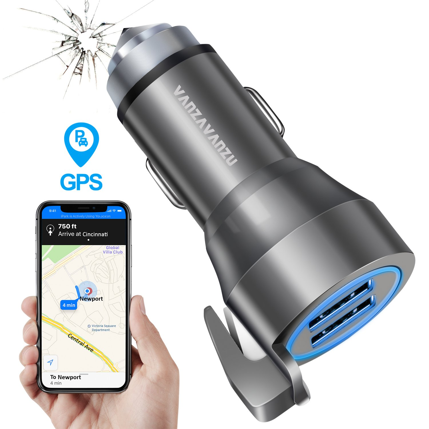 Quick Car Charger with GPS Car Finder Hammer Belt Cutter - Dual USB Ports 24W 4.8A LED Fast Charging Adapter for Apple Cell Phone iPhone X 8 7 6 Plus Android Samsung Galaxy S9 S8 S7 Note Laptop iPad