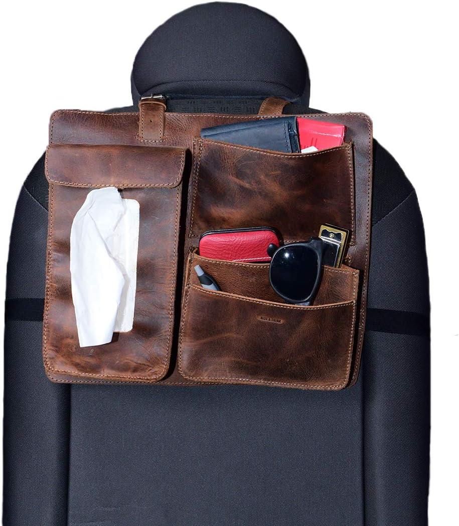 Phone Holder Tissue Box Case Handmade Includes 101 Year Warranty :: Bourbon Brown Leather Back Seat Car Organizer Hide /& Drink