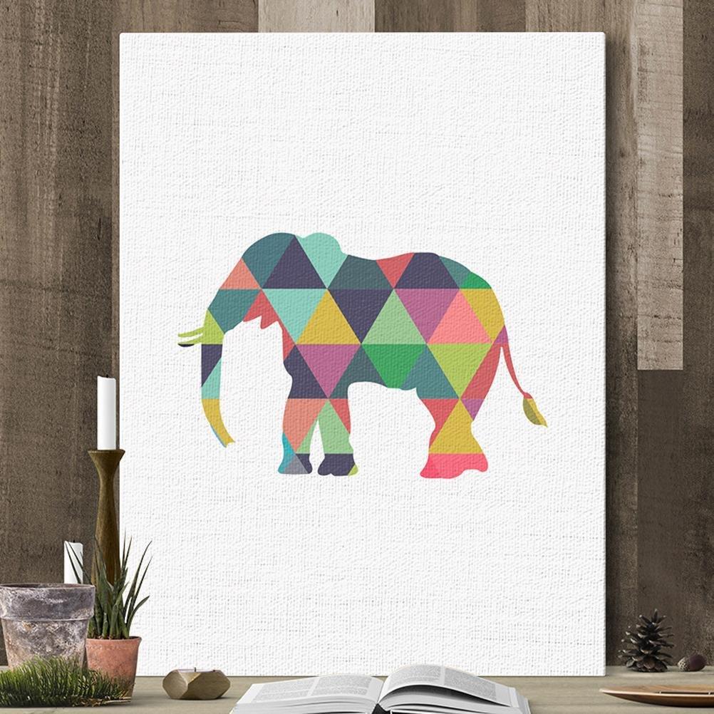 MINRAN DECOR L Stampe su tela dipinti ad olio moderna della parete di arte su tela paesaggi dalla mano della decorazione/Elefante di colore creativo, A, 30*25CM