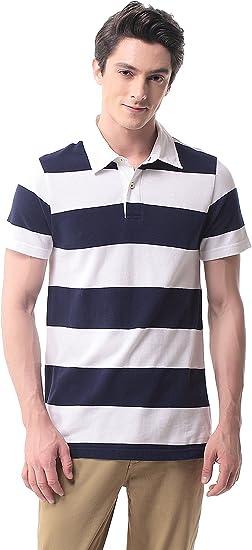 T-07 Hombre Polo de Rayas Manga Corta Camisa Sport Tennis Golf ...