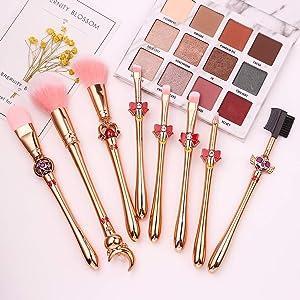 Sailor Moon Makeup Brushes Set - 8pcs Plastic Handle Cosmetic Makeup Brush Set Professional Tool Kit Set Pink Drawstring Bag Included (Rose Gold-1)