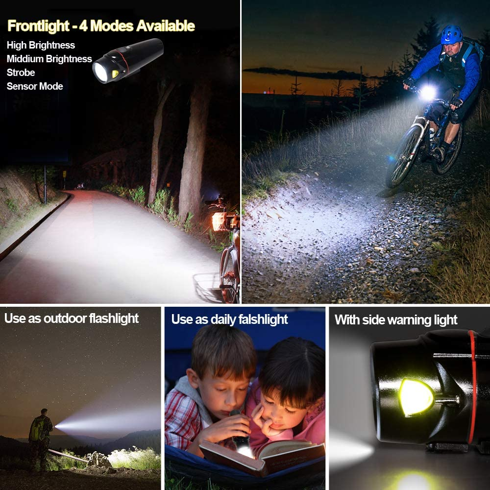 Yabife Bike Lights Sets Front Rear Waterproof with Sensor Mode 6 Modes 100 Lumens Back Cycling Light Super Bright USB Rechargeable 4 Modes 350 Lumens Bicycle Headlights