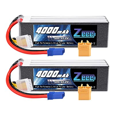 Zeee 22.2V 60C 4000mAh 6S Lipo Battery with EC5 and XT90 Plug for RC Airplane Helicopter RC Car Truck Tank Drone Racing Hobby(2 Pack): Toys & Games