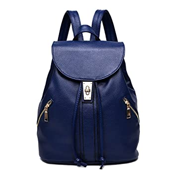 DEERWORD Para mujer Bolsos mochila Bolsos bandolera Carteras de mano Mochila escolar Bolsa para portátil Cuero Azul: Amazon.es: Equipaje