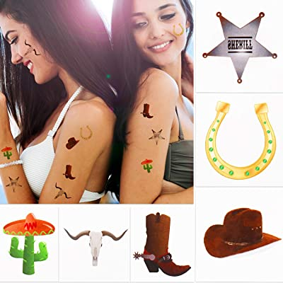 144 Pieces Western Cowboy Temporary Tattoos Western Elemental Stickers with Flannelette Bag Cowboy Party Accessories for Adult Children: Toys & Games