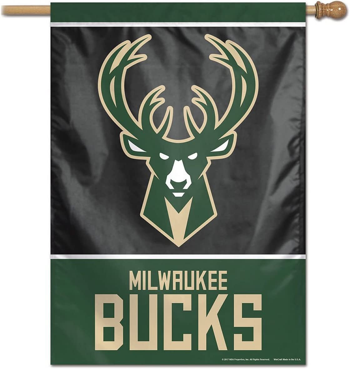 Milwaukee Bucks State of Wisconsin Two Ply and Double Sided House Flag