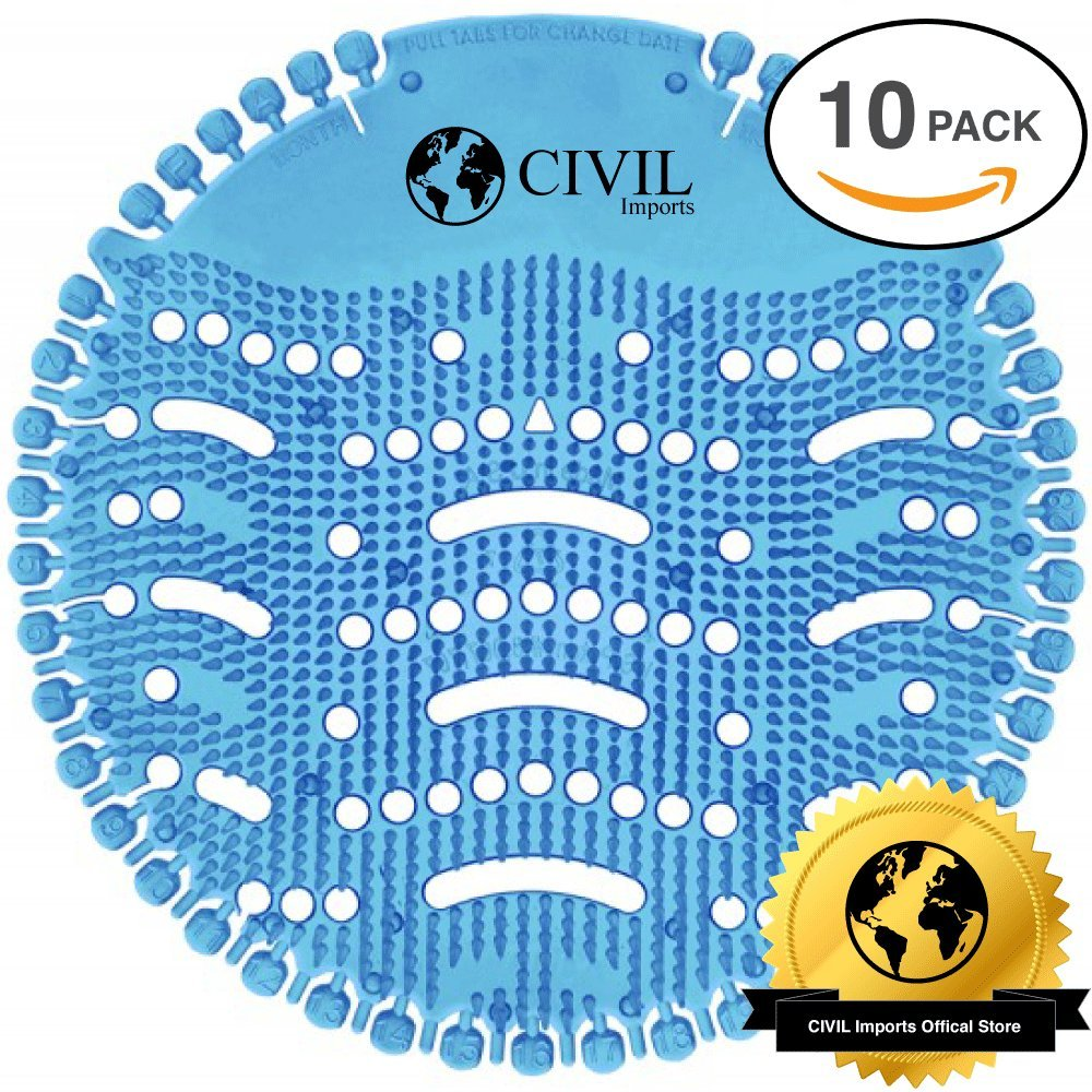 Urinal Screens , Urinal Cakes , Urinal Deodorizer , Urinal Mats (10-pack) by Civil Imports - Fits Most Top Urinal Brands at Restaurants, Offices, Schools, etc. (Ocean Mist)