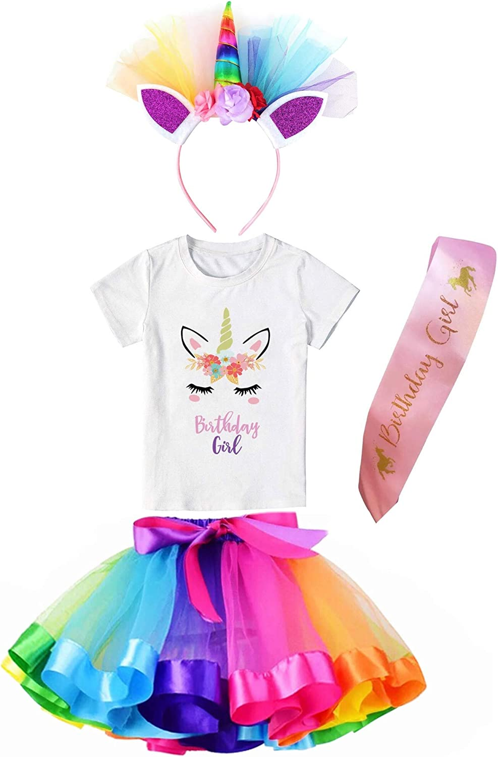 Girls Layered Tutu Skirt with Unicorn TShirt & Headband (Rainbow, 7-8 Years)