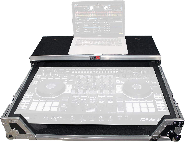 ProX XS-DJ808WLT Flight Case for Roland DJ-808 or Denon MC7000 Digital Controller With Sliding Laptop Shelf and Wheels - Silver on Black Design